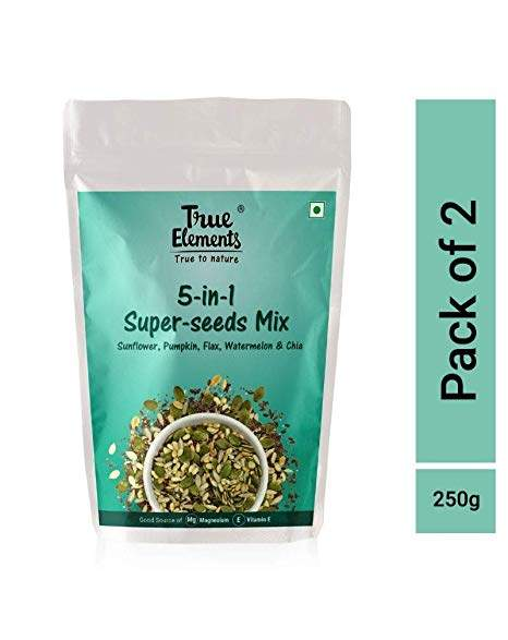 True Elements 5 in 1 Super Seeds Mix, Sunflower Pumpkin Flax Watermelon and Chia Seeds 250gm (Mixed Seeds, 125*2) by True Elements