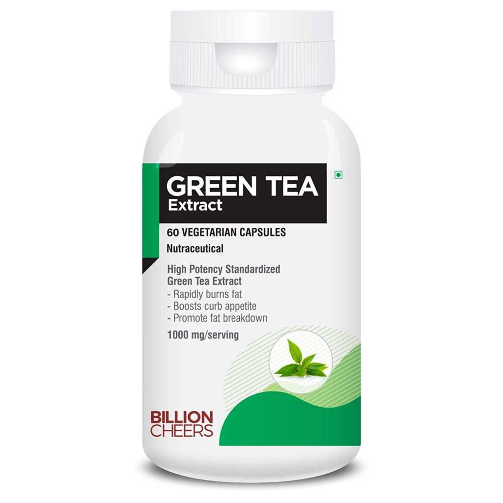 BILLIONCHEERS Green Tea Extract capsule With 90% Polyphenols, 40% EGCG super antioxidant for weight management- 1000 Mg - 60 Capsules