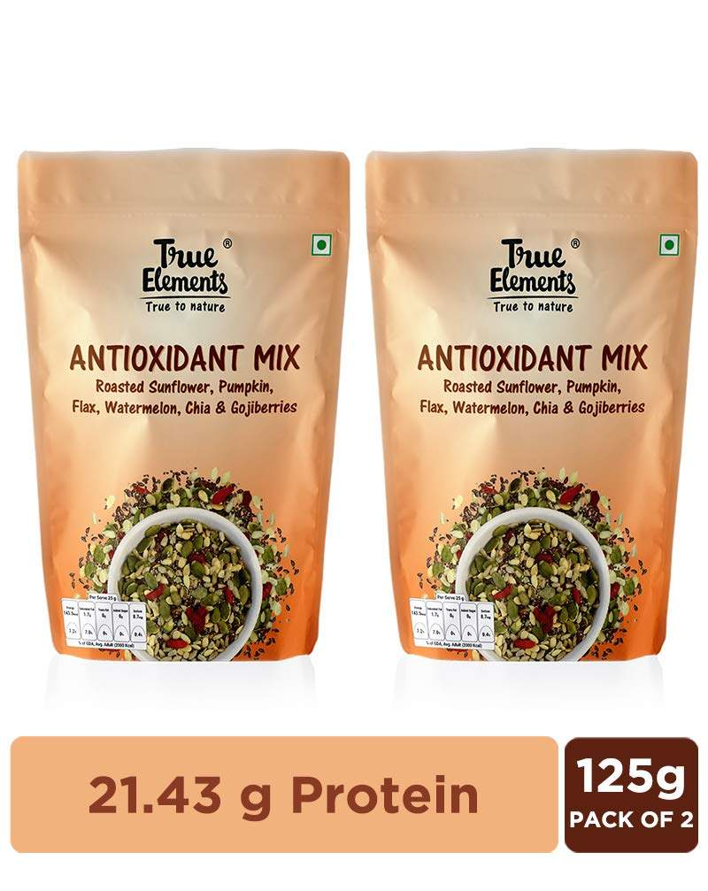 True Elements Roasted Sunflower, Pumpkin and Flax Seeds Watermelon, Chia & Goji Berries, 250g (Pack of 2)(125g*2)