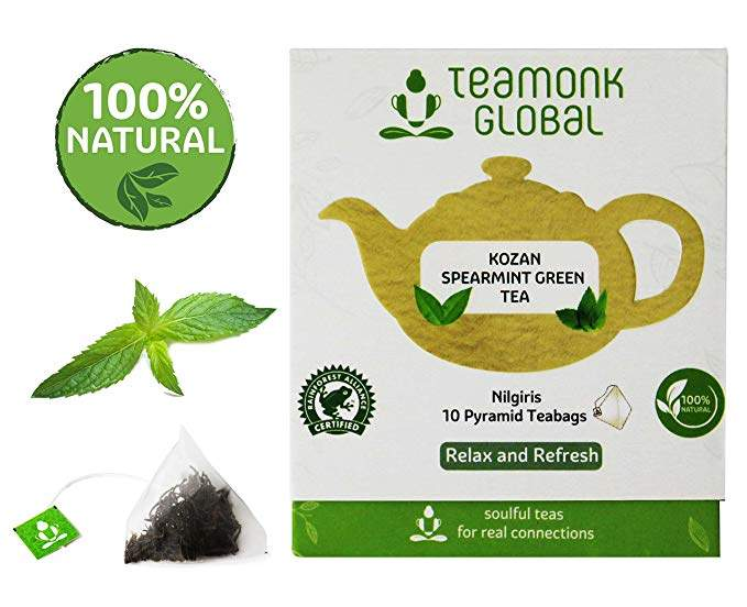 Teamonk Spearmint Green Tea, Long Leaf 10 Tea Bags, 93 g