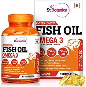 St.Botanica Fish Oil Omega 3 Advanced 1000Mg (Double Strength) 650Mg Omega 3 - 60 Enteric Coated Softgels