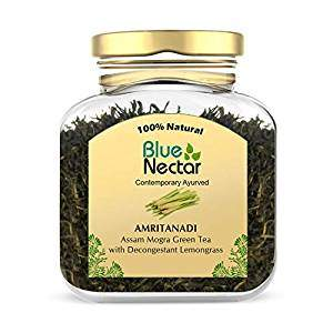 Blue Nectar Amritanadi Assam Green Tea | Whole Loose Green Tea Leaves from Assam Tea Garden (65 g | 33 Cup) (Decongestant Lemongrass)